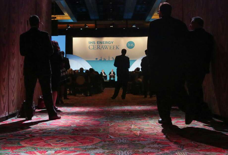CeraWeek attendees listen during one of Tuesday's sessions at IHS Energy CERAWeek. Photo: Billy Smith II /Houston Chronicle / Houston Chronicle