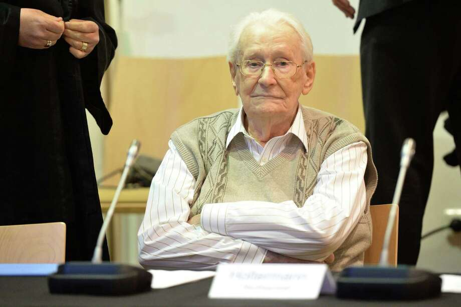 Oskar Groening, a former officer at Auschwitz, waits for his trial to open in Lueneburg in north Germany. He is charged with accessory to murder in the deaths of 300,000 mostly Hungarian Jews. Photo: Julian Stratenschulte /New York Times / POOL