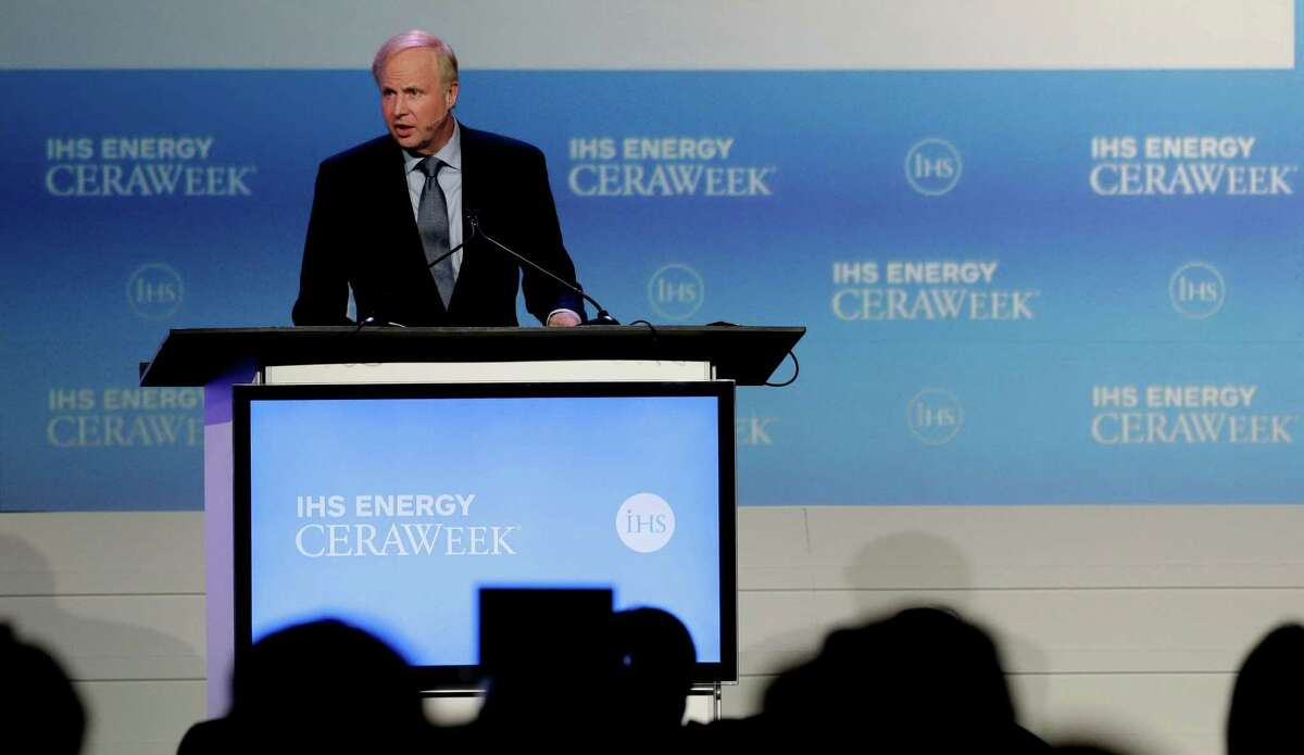 BP's chief executive, Bob Dudley, says the British company is working with European oil and natural gas companies to develop a uniform message on reducing carbon emissions. IHS Energy CERAWeek conference. (Billy Smith II / Houston Chronicle)