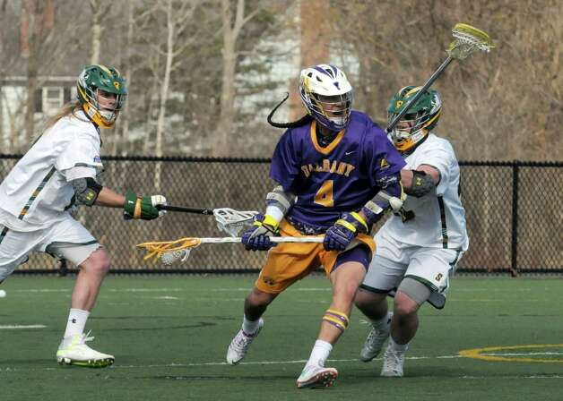 UAlbany's Lyle Thompson looks to the goal during their men's college lacrosse game against Siena on Tuesday April 21, 2015 in Loudonville, N.Y. (Michael P. Farrell/Times Union) Photo: Michael P. Farrell / 00031539A
