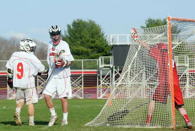 Albany Academy celebrates a goal during their boys' lacrosse game against Glens Falls on Tuesday April 21, 2015 in Albany, N.Y. (Michael P. Farrell/Times Union) Photo: Michael P. Farrell / 00031528A