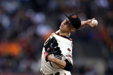 San Francisco Giants' Tim Lincecum delivers in 1st inning against Los Angeles Dodgers during MLB game at AT&T Park in San Francisco, Calif., on Tuesday, April 21, 2015.