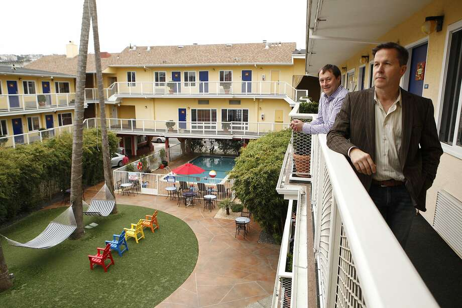 Steve Zavattero (left) and Ray Beldner, founders of the stARTup Art Fair, pictured at Hotel Del Sol, Tuesday, April 21, 2015, in San Francisco, Calif. The contemporary art fair will be held at the hotel May 1-3 and will feature artists who don't have gallery representation. Photo: Santiago Mejia, The Chronicle