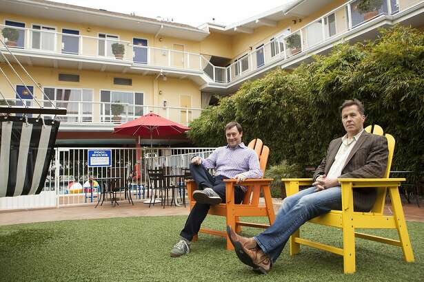 Steve Zavattero (left) and Ray Beldner, founders of the stARTup Art Fair, pictured at Hotel Del Sol, Tuesday, April 21, 2015, in San Francisco, Calif. The contemporary art fair will be held at the hotel May 1-3 and will feature artists who don't have gallery representation.