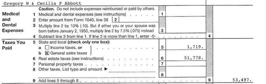 Taxes Paid Greg & Cecilia Abbott 2014 Federal Income Tax Form