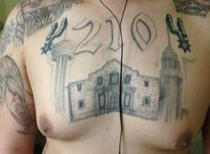 The Spurs logo, the Alamo and 210 area code are among the tattoos members of Tango Orejon use to identify themselves.