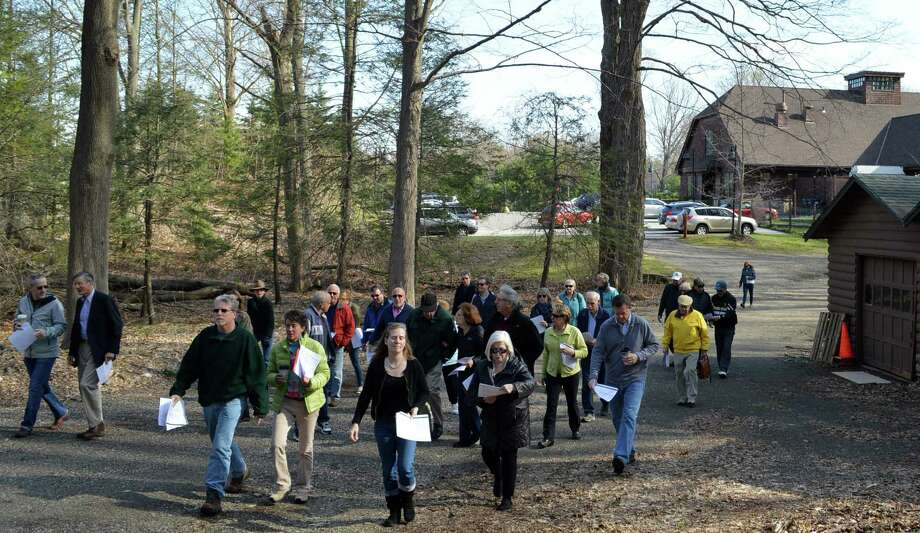 A tour of the Baron's South property, led by Representative Town Meeting members, set out from the Westport Center for Senior Activities on Wednesday morning. Photo: Jarret Liotta / Westport News