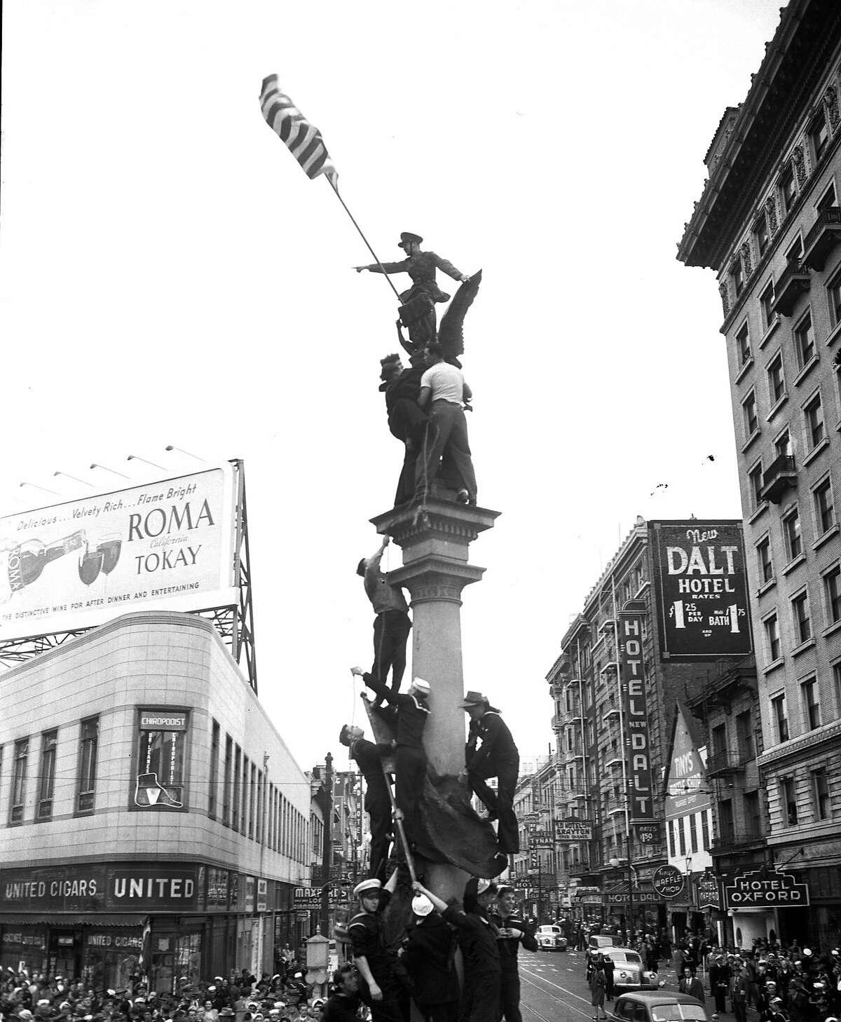 V-J Day celebration in San Francisco ..August 14-15 1945 End of World War II, Japan surrenders