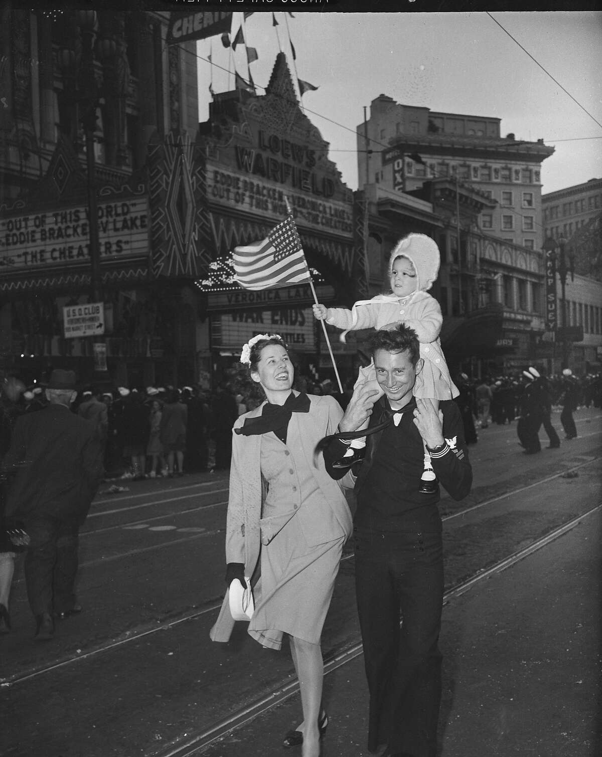 V-J Day celebration in San Francisco ..August 14-15 1945 End of World War II, Japan surrenders Negative says 6th and Market Streets
