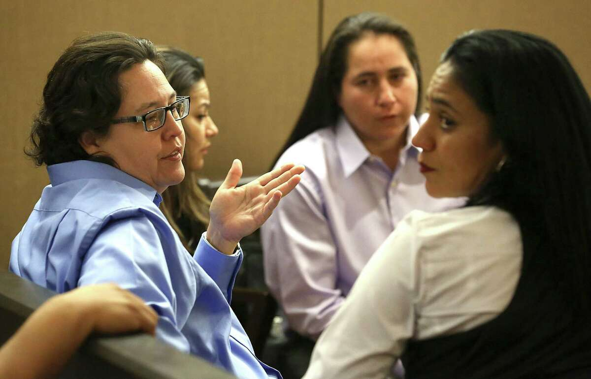 Four San Antonio women known as the SA Four, from left, Kristie Mayhugh , Elizabeth Ramirez, Anna Vasquez and Cassandra Rivera, are back in Bexar County Court to determine if they should be declared actually innocent of a sexual crime that they were found guilty of, or possibly sent back to prison. Wednesday, April 22, 2015.