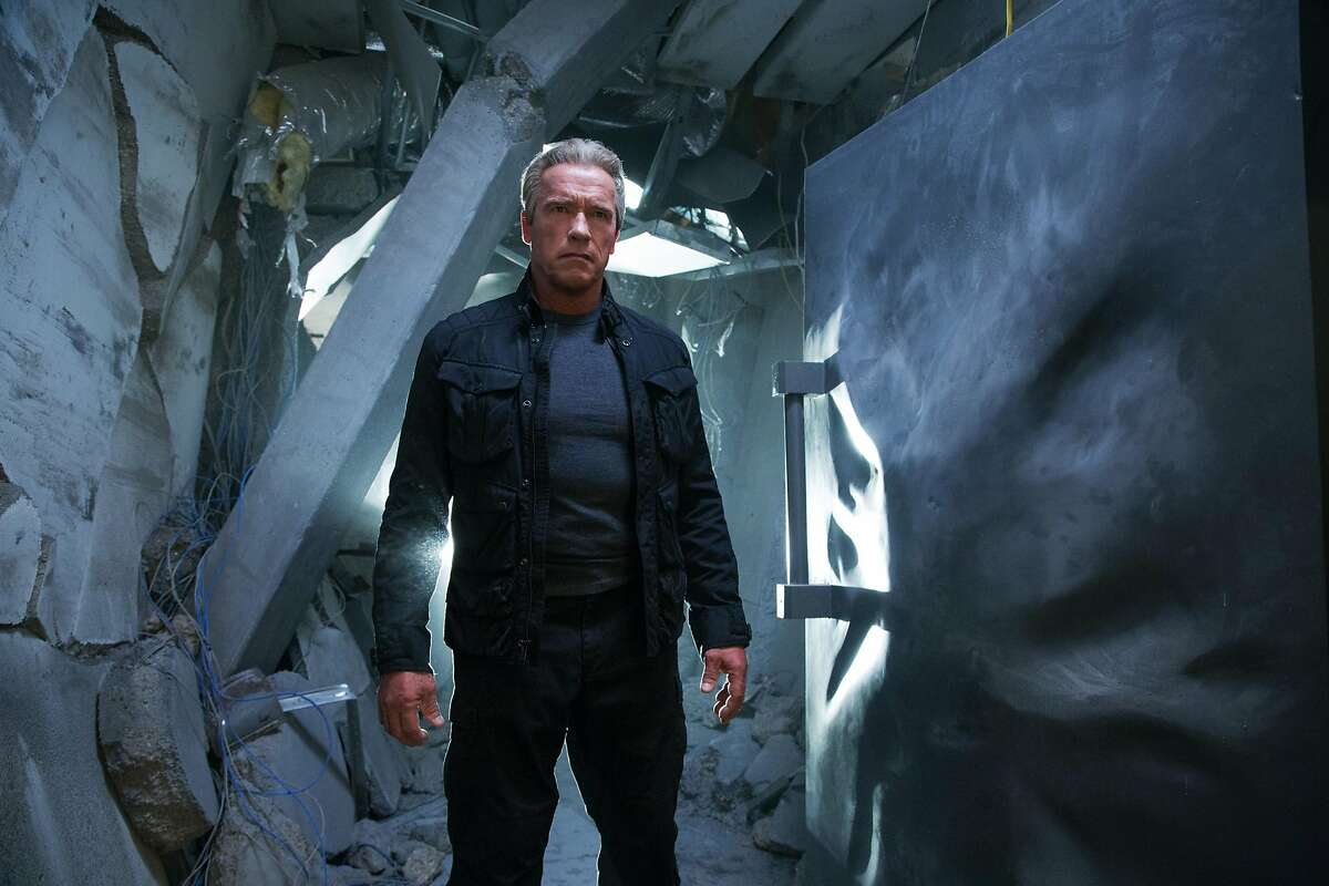 """This image released by Paramount Pictures shows Arnold Schwarzenegger in a scene from """"Terminator: Genisys,"""" the fifth film in the series created by James Cameron in 1984. (Melinda Sue Gordon/Paramount Pictures via AP)"""