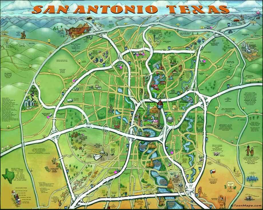 This awesome caricature map of San Antonio features must visit – Houston Tourist Attractions Map