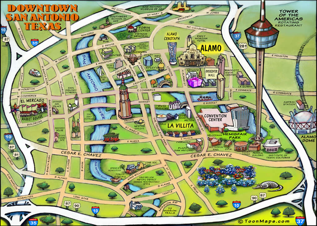 This awesome caricature map of San Antonio features must visit – Tourist Attractions Map In Houston