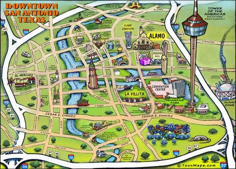san antonio map attractions This Awesome Caricature Map Of San Antonio Features Must Visit Attractions In Town San Antonio Express News san antonio map attractions