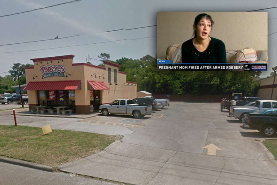 A masked man made off with $400 in an armed robbery of a Popeyes Louisiana Kitchen fast food restaurant in the Houston suburb of Channelview on March 31, 2015. A pregnant employee was fired after the robbery; management said she kept too much money in the drawer, an offense she previously had been warned about. Photo: Google Street View ,  KHOU