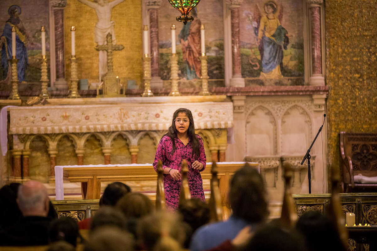 Aarya Kaushik telling her story St. Paul's Episcopal Church in Troy on May 4th