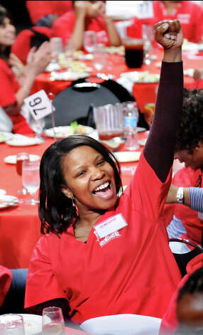 Gilberth Alcindor, a nurse at Elmhurst Hospital in Queens for 16 years, cheers during the New York State Nurses Assoc. rally to advocate for patients' healthcare needs on Tuesday, April 21, 2015, at the Empire State Plaza Convention Center in Albany, N.Y. (Cindy Schultz / Times Union) Photo: Cindy Schultz, Albany Times Union / 00031541A