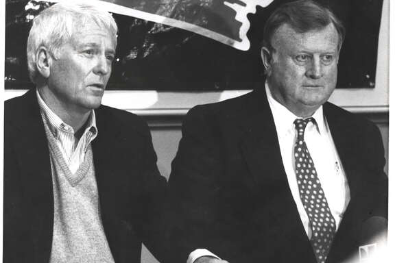 After the 1975-76 season, the Spurs' then-owners, Red McCombs (right) and Angelo Drossos moved Bob Bass (left) to the front office.