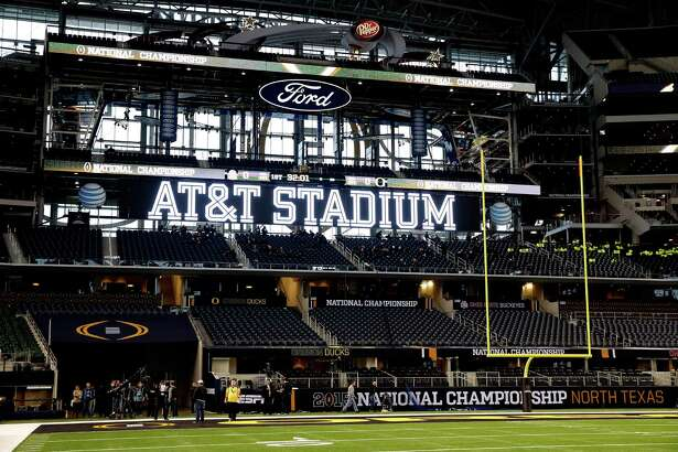 A detailed view of the field at AT&T Stadium in Arlington prior to the College Football Playoff national championship game between the Oregon Ducks and the Ohio State Buckeyes on Jan. 12, 2015.