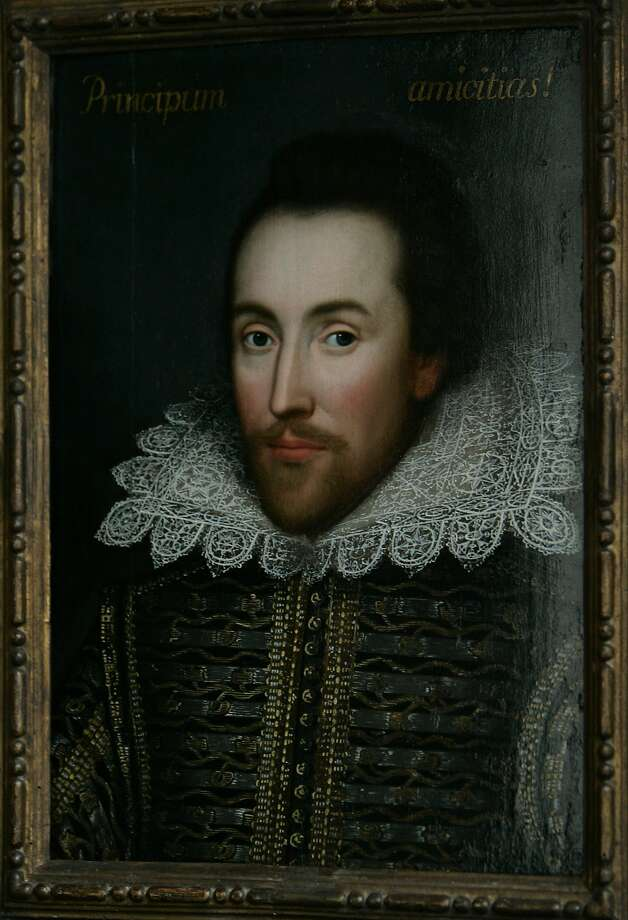 FILE - This is a  Monday March 9, 2009 file of a then newly discovered portrait of William Shakespeare, presented by the Shakespeare Birthplace trust, is seen in central London,  New research depicts William Shakespeare as a grain hoarder, moneylender and tax dodger who became a wealthy businessman during a time of famine.(AP Photo/Lefteris Pitarakis) Photo: Lefteris Pitarakis, Associated Press