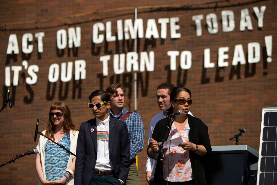 Students kick off the first annual student-hosted Climate Action Festival on Earth Day, photographed Wednesday, April 22, 2015, at Seattle Central Community College in Seattle, Washington. More than 25 organizations, including 350 Seattle, the Capitol Hill EcoDistrict and the Sierra Club were present, educating people about climate change and what they can do to fight it. (Jordan Stead, seattlepi.com) Photo: JORDAN STEAD, SEATTLEPI.COM