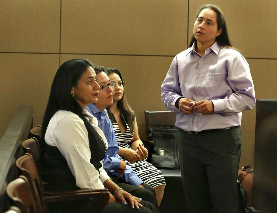 Four San Antonio women known as the SA Four, Anna Vasquez, right to left, Elizabeth Ramirez, Kristie Mayhugh and Cassandra Rivera, are back in Bexar County Court to determine if they should be declared actually  innocent of a sexual crime that they were found guilty of, or possibly sent back to prison.   Wednesday, April 22, 2015. Photo: Bob Owen, Staff / San Antonio Express-News / ©2015 San Antonio Express-News