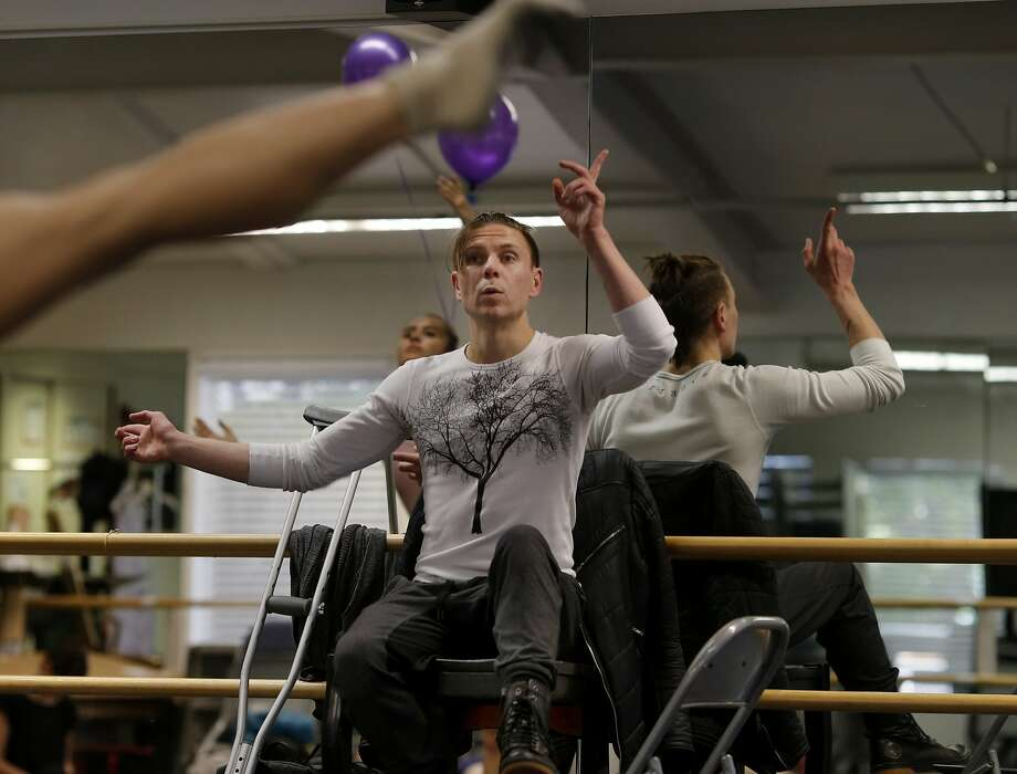 Robert Dekkers watches his dancers and uses his upper body to direct during a rehearsal Wednesday April 22, 2015. Acclaimed choreographer and Diablo ballet resident Robert Dekkers is working on his newest piece despite some difficult medical problems that don't allow him to dance in Walnut Creek, Calif. Photo: Brant Ward, The Chronicle