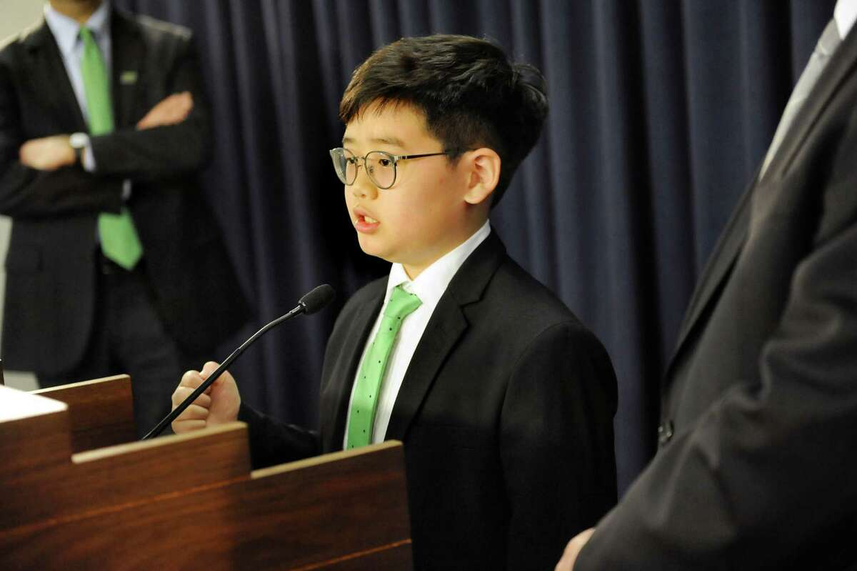 Eliot Seol , 10, of Queens talks about the Battery Recycling Bill during a news conference on Wednesday, April 22, 2015, at the Capitol in Albany, N.Y. (Cindy Schultz / Times Union)