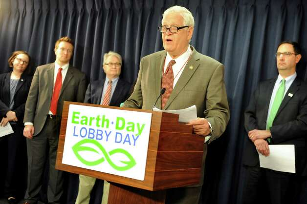Assemblyman Steve Englebright, center, speaks during an Earth Day news conference on Wednesday, April 22, 2015, at the Capitol in Albany, N.Y.  Joining him, from left, are Jessica Ottney Mahar of The Nature Conservancy, Jessica Ottney Mahar of The Nature Conservancy, Michael Hansen of ConsumersUnion and Peter Iwanowicz of Environmental Advocates. (Cindy Schultz / Times Union) Photo: Cindy Schultz / 00031563A