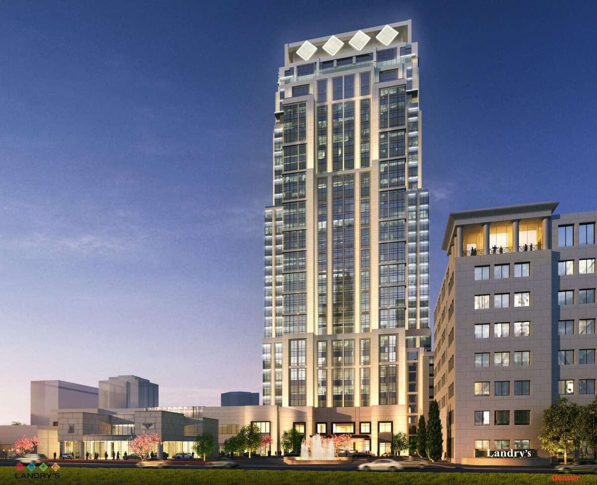 Rendering of a hotel, office and residential tower, a ballroom and related restaurants that are part of Tilman Fertitta's proposed project off the West Loop called The Post Oak. The $200-million-plus development is expected to be complete in fall 2017.
