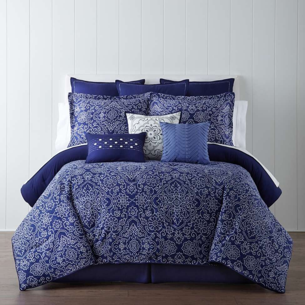 Eva Longoria dips her talents into home design with a collection of bedding and window treatments for JCPenney she'll show off Saturday with a personal appearance at North Star Mall's JCPenney from 1 to 3 p.m. Here is a look: bedding from Longoria's deep blue Adana collection -- one of four sets she designed.