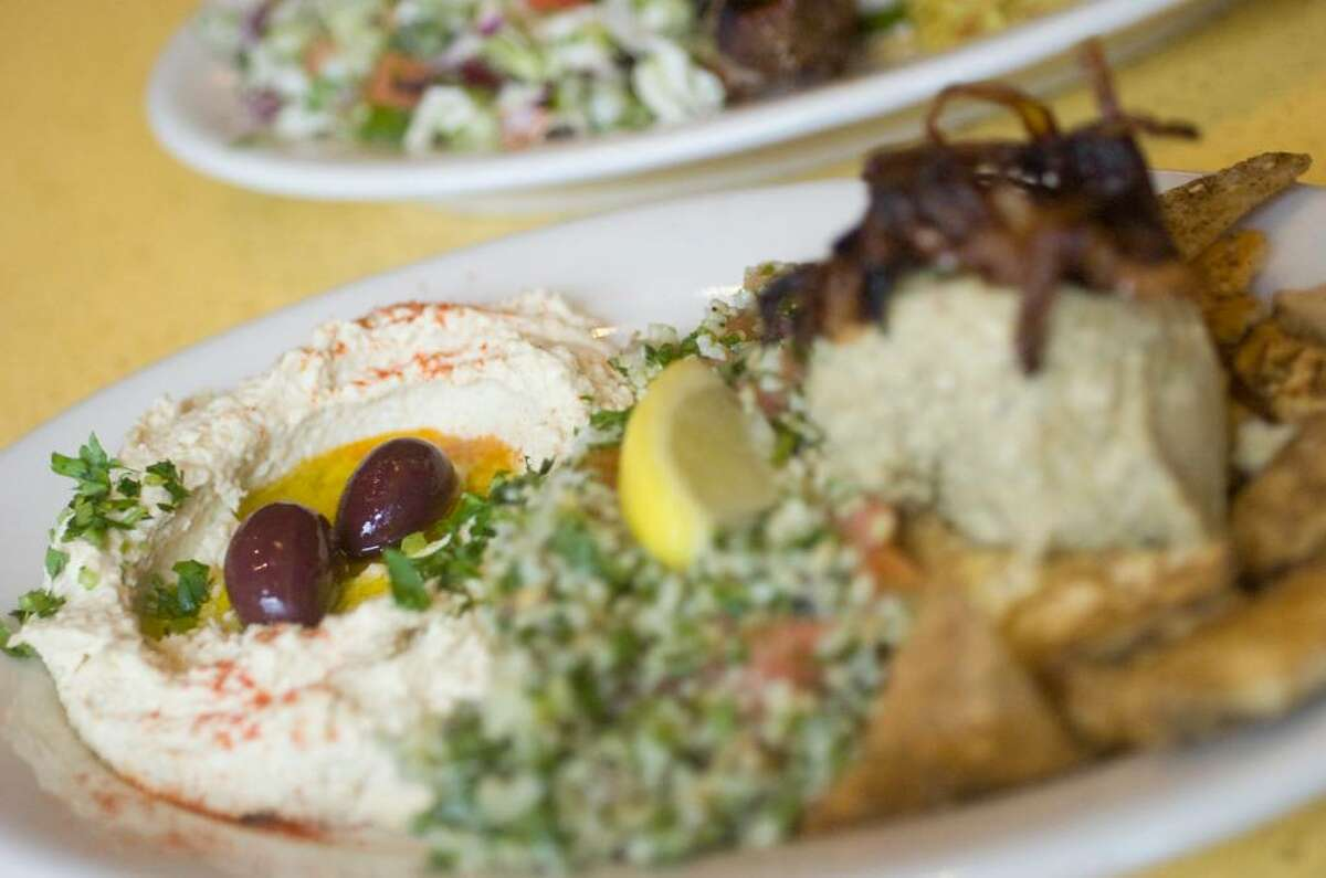The combination platter with hummus, vegetarian chopped liver and tabouli at Tabouli Grill in Stamford, Conn. on Wednesday, Feb. 23, 2010.