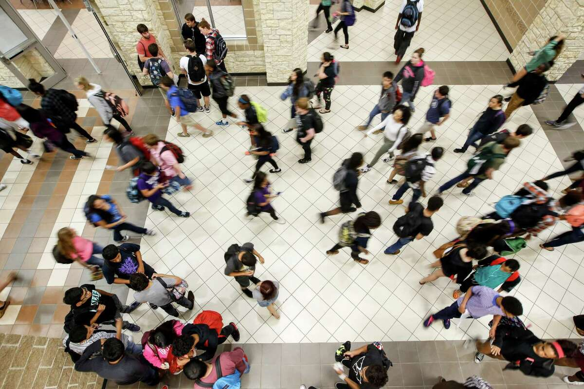 Passing period at George Ranch High School, Friday, April 17, 2015 in Houston.