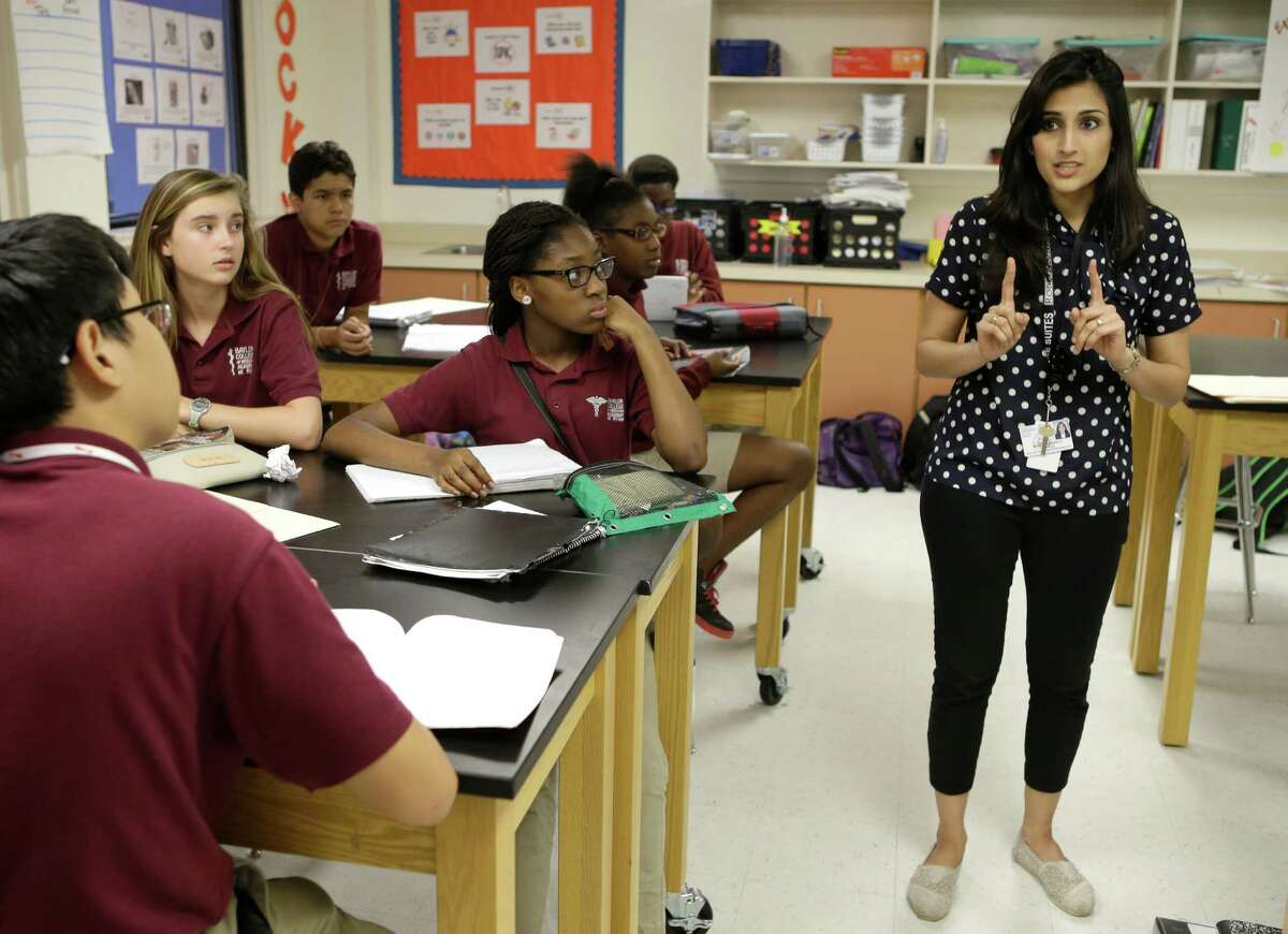 Mariam Blanco, science department chair, teaches her class at Baylor College of Medicine Academy at Ryan, 2610 Elgin, Thursday, April 16, 2015, in Houston.