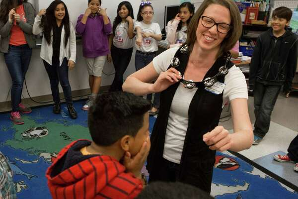 Staging STEM theatre teacher Sarah Bassinger teaches about the carbon dioxide cycle combining it with theatre techniques at  Emerson Elementary, Friday, April 10, 2015, in Houston. The program is part of a growing emphasis on STEAM, which stands for science, technology, engineering, arts and math.