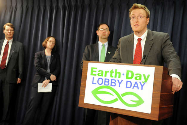 Kevin Chlad of the Adirondack Council, right, speaks during a news conference on Wednesday, April 22, 2015, at the Capitol in Albany, N.Y. Joining him, from left, are Blair Horner of NYPIRG, Jessica Ottney Mahar of The Nature Conservancy and Peter Iwanowicz of Environmental Advocates. (Cindy Schultz / Times Union) Photo: Cindy Schultz, Albany Times Union / 00031563A