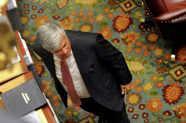 Senate Majority Leader Dean Skelos leaves the Senate Chamber on Wednesday, April 22, 2015, at the Capitol in Albany, N.Y. (Cindy Schultz / Times Union) Photo: Cindy Schultz, Albany Times Union / 00031571A