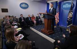 US President Barack Obama speaks during a press conference in the Brady Briefing Room of the White House on April 23, 2015 in Washington, DC.