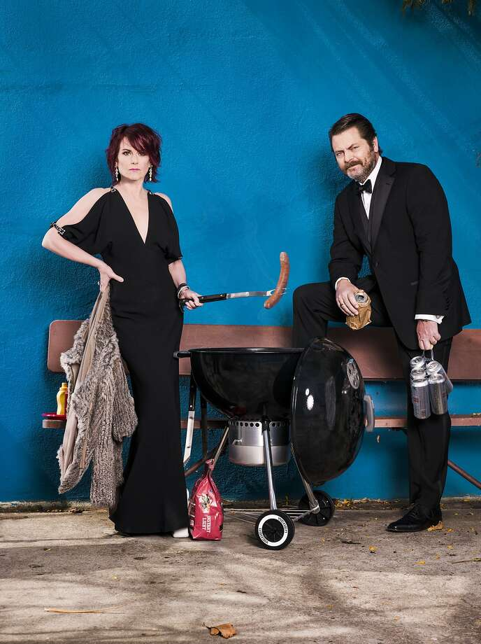 "Megan Mullally and Nick Offerman, Aug. 25, Palace Theatre. Celebrity couple publicly examines their marriage on ""Summer of 69: No Apostrophe"" tour.  Photo: Eric Schwabel"