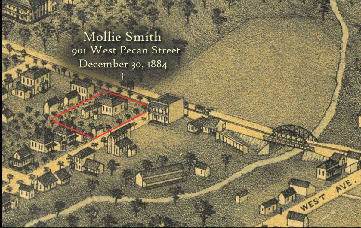 Mollie Smith , 25, was murdered at 901 W. Pecan Street, at the residence of W.K. Hall. Smith was allegedly attacked with an axe, raped, dragged into the backyard and killed on Dec. 30, 1884. Source: Servantgirlmurders.com