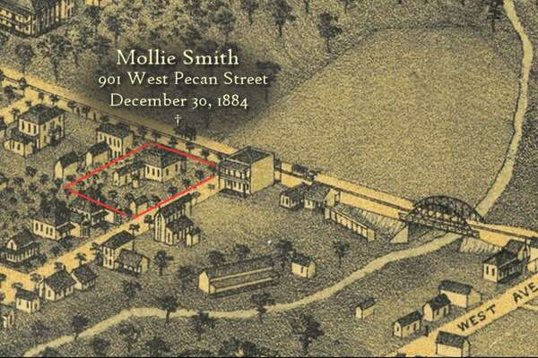 Mollie Smith, 25, was murdered at 901 W. Pecan Street, at the residence of W.K. Hall. Smith was allegedly attacked with an axe, raped, dragged into the backyard and killed on Dec. 30, 1884. Source: Servantgirlmurders.com