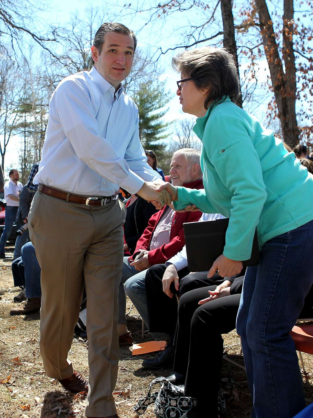 Republican presidential candidate Sen. Ted Cruz, R-Texas greets potential supporters at the Londonderry Fish and Game club in Litchfield, N.H., Sunday, April 19, 2015.