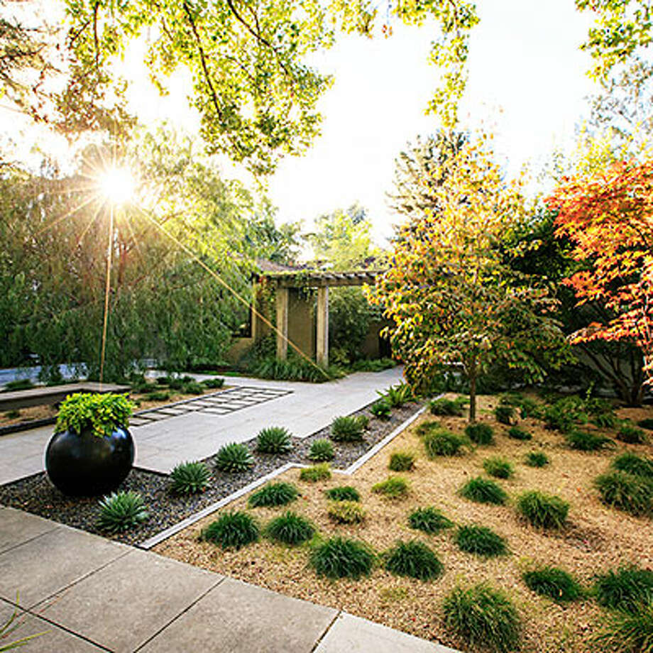 Zen retreat This Palo Alto, CA front yard was designed be a point of interest for anyone passing by. Landscape designer Chris Jacobson kept mostly to a green palette to create tranquility and year-round good looks. Clumping Berkeley sedge dots the yard, while spiraled Aloe polyphylla and asparagus ferns line the drive. Japanese maples and dogwoods provide softness, shade, and color. Jacobson placed an arbor supported by concrete columns 7 feet from the house, creating a courtyard. The planting beds, mulched with tumbled glass in shades of blue and green and buff-colored decomposed granite, add texture while keeping the palette serene.  Design: Chris Jacobson of GardenArt Group (gardenartgroup.com). Photo: Thomas J. Story, Sunset.com