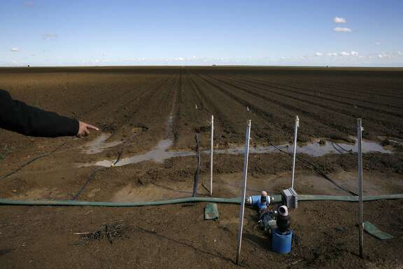 Jean Errotabere points out a solar-powered wireless valve used to control the watering time for their drip-system on Errotabere Ranches' land April 9, 2015 in the Westlands Water District in Five Points, Calif. The Errotaberes fallowed 1,200 acres of land this year.  Westlands is the largest agricultural water district in the country, providing water to 700 farms in over 1,000 square miles of land in the Central Valley.