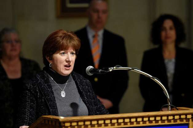 Albany Mayor Kathy Sheehan announced today April 23, 2015 the kick off new fund to support Albany arts, education and cultural programs, during a press conference in the rotunda of the Albany City Hall in Albany, N.Y.        (Skip Dickstein/Times Union) Photo: SKIP DICKSTEIN / 00031578A
