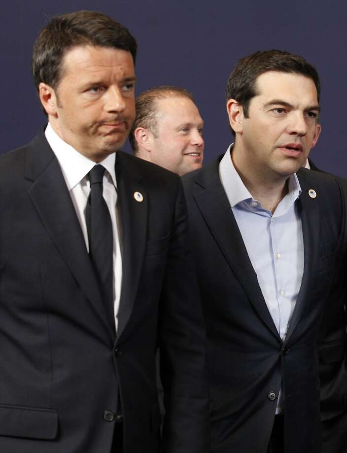 Italian Prime Minister Matteo Renzi (left) and Greek leader Alexis Tsipras attend the summit. Photo: Francois Walschaerts, Associated Press