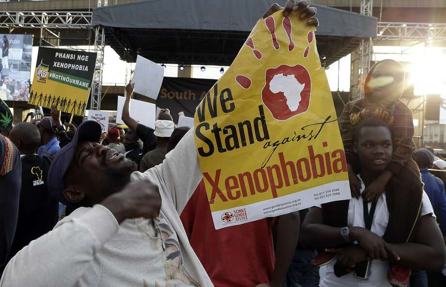 Demonstrators rally in Johannesburg to express their outrage over assaults on foreigners that have killed seven people over the last several weeks. Photo: Themba Hadebe, Associated Press