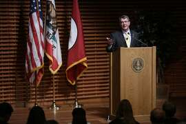 U.S. Secretary of Defense Ashton Carter discusses the Pentagon's new plan for cybersecurity at Stanford University in Palo Alto on Thursday, April 23, 2015. Carter's remarks came as the Obama Administration seeks a new level of partnership between the Defense Department and Silicon Valley.