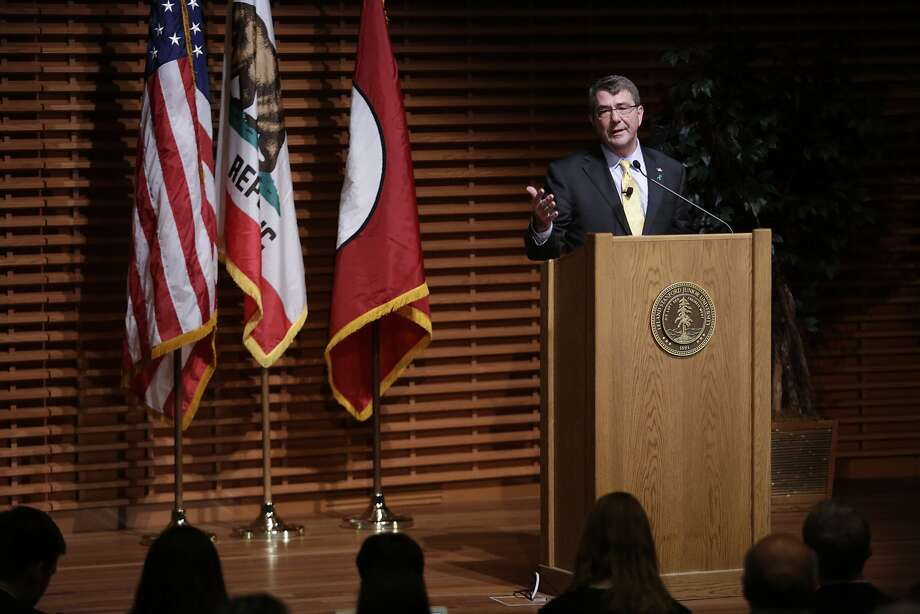 U.S. Secretary of Defense Ashton Carter discusses the Pentagon's new plan for cybersecurity at Stanford University in Palo Alto on Thursday, April 23, 2015. Carter's remarks came as the Obama Administration seeks a new level of partnership between the Defense Department and Silicon Valley. Photo: Terray Sylvester, The Chronicle