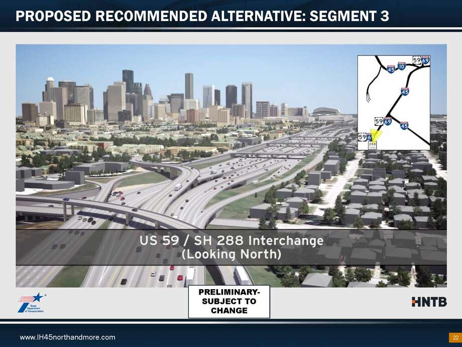 A TXDot presentation shows planned changes to I-45. Photo: Texas Department Of Transportation